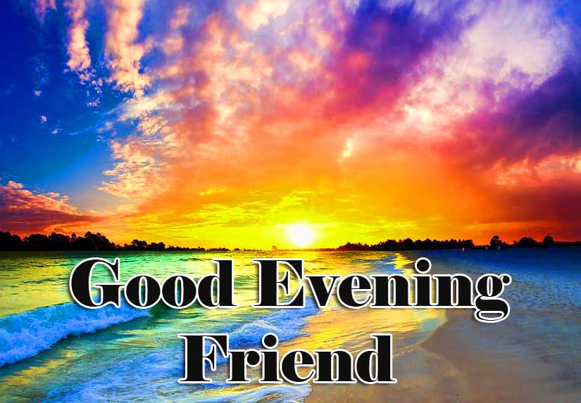 Colourful Scenery with Good Evening Wish