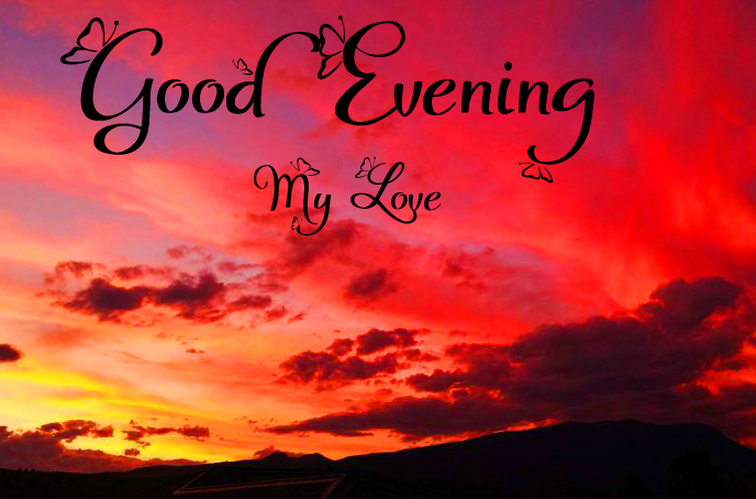 Colourful Sky with Good Evening Wishing