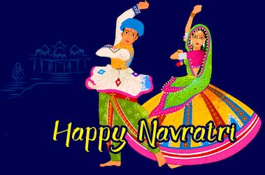 Couple Performing Garba with Happy Navratri Wishing