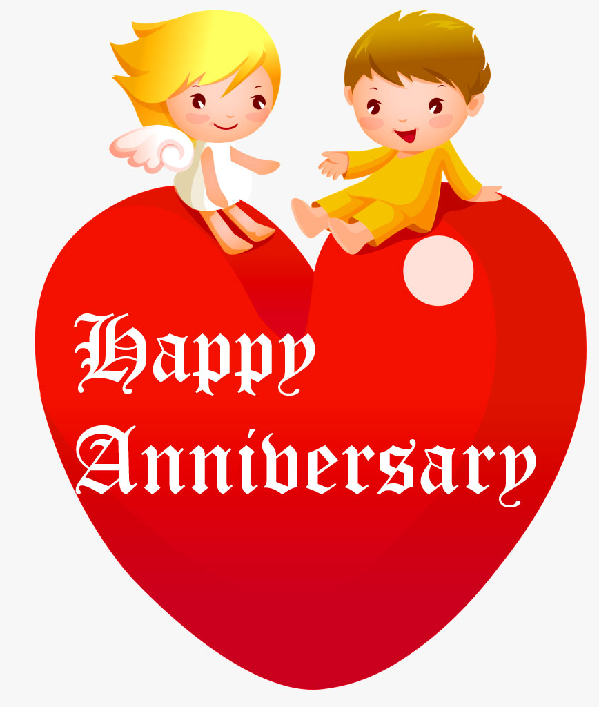 Couple on Heart with Happpy Anniversary Wish