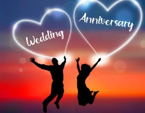 Couple with Happy Wedding Anniversary Wishing