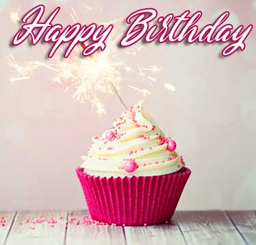 Cup Cake Image with Happy Birthday Wishing