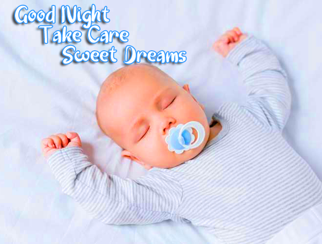 Cute Baby Sleeping with Good Night Wishing