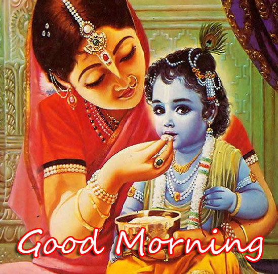 Cute Bal Krishna with Good Morning Message