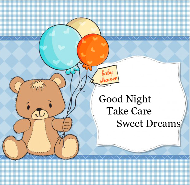Cute Bear with Balloons and Good Night Wishing