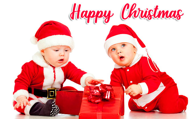 Cute Children with Happy Christmas Wish