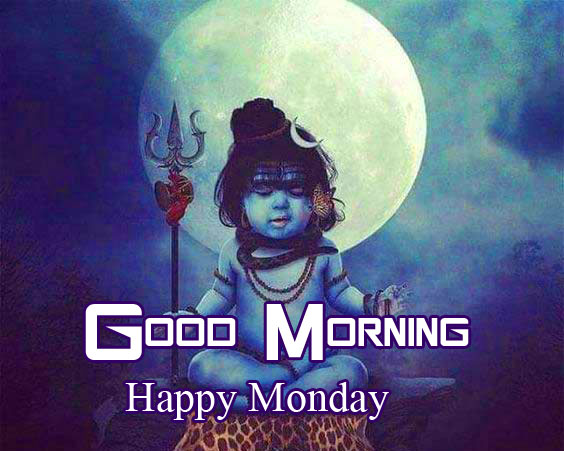 Cute Shiva Pic with Good Morning Happy Monday Wish