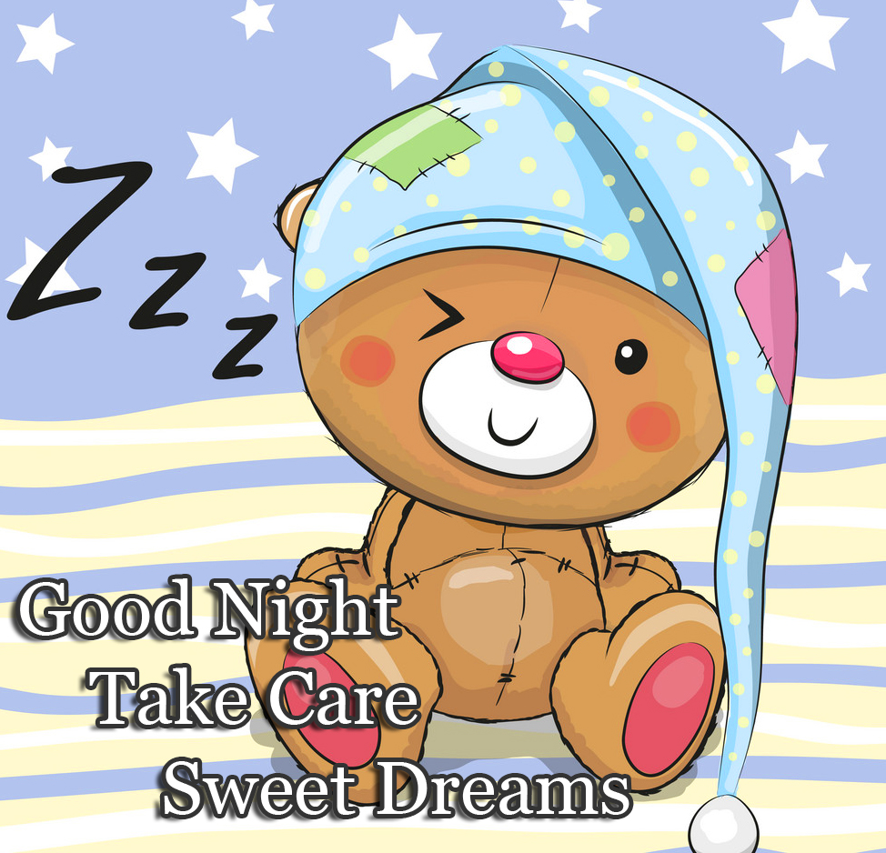 Cute Teddy Bear with Good Night Image