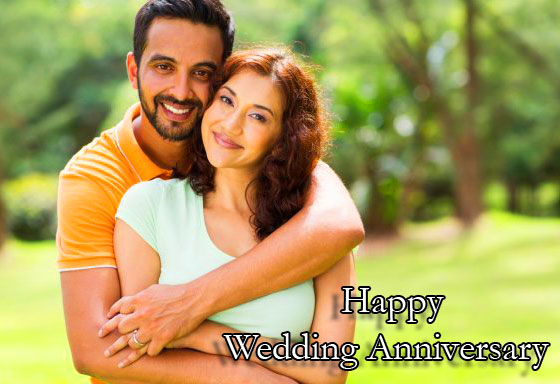 Cute and Love Couple with Happy Wedding Anniversary Wishing