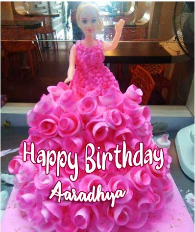 Doll Cake with Happy Birthday Message