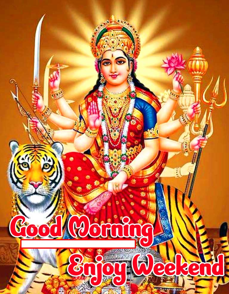 Durga Maa Wallpaper with Good Morning and Happy Friday Blessings Copy Copy
