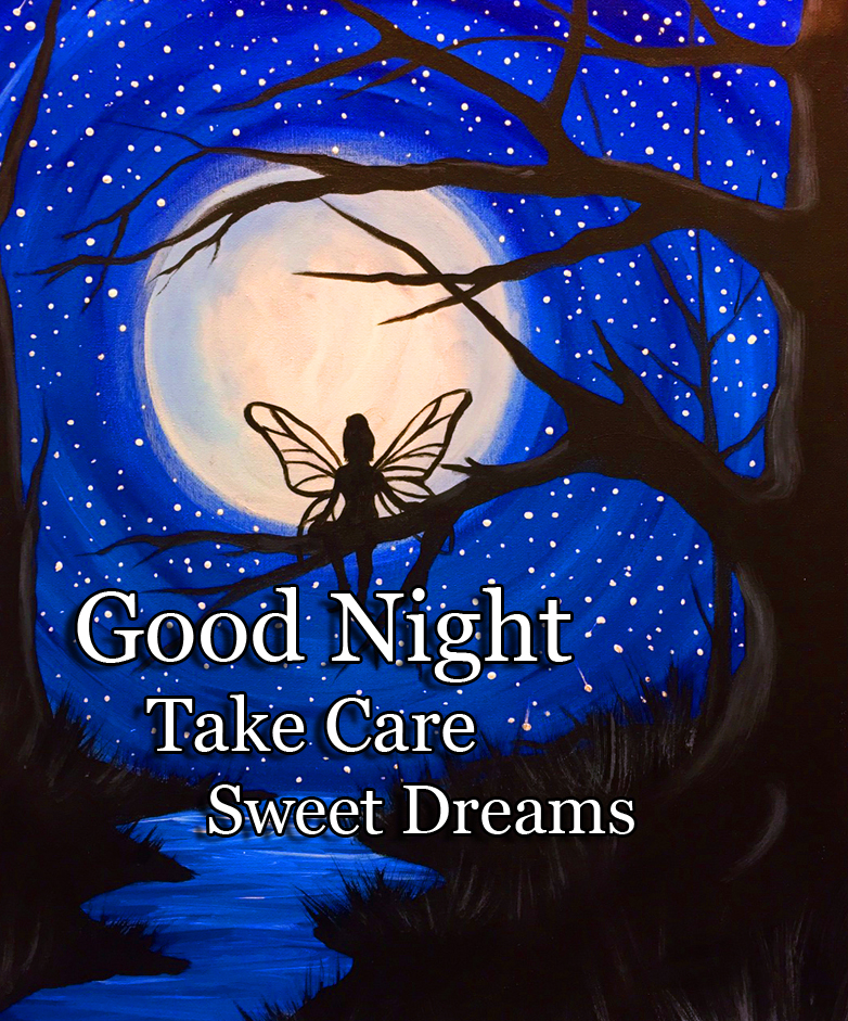 Fairy in Moonlight with Good Night Wishing