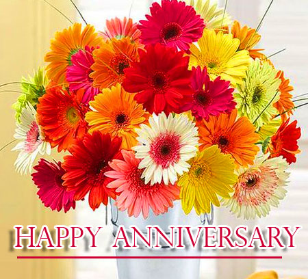 Flowers Bouquet with Happpy Anniversary Wishing