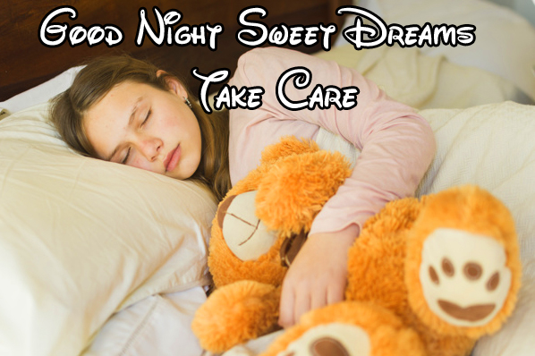 Girl Sleeping with Teddy and Good Night Wishing
