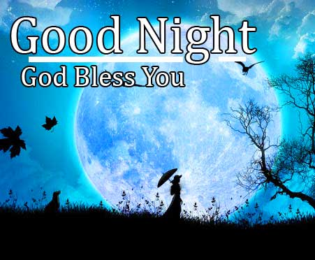 Girl in Front of Moon with Good Night Wishing
