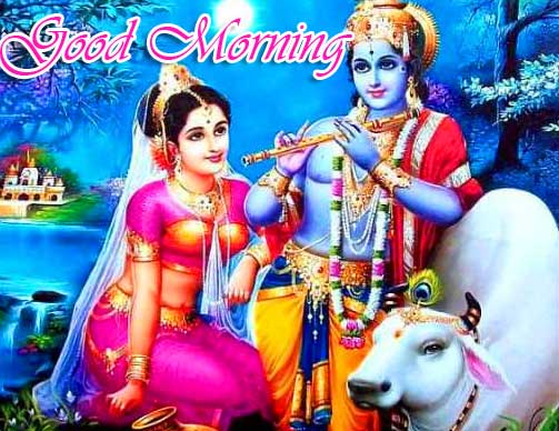 God Romantic Radha and Krishna Good Morning Image