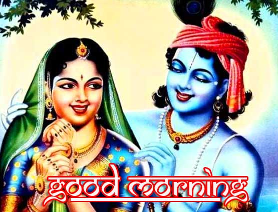 Good Morning Radha and Krishna Wish Image HD