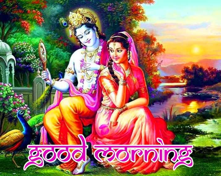 Good Morning with Radha Krishna Photo HD