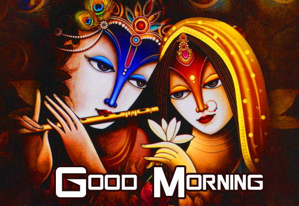 Good Morning with Radha and Krishna Image HD