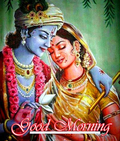 Good Morning with Radha and Krishna Image