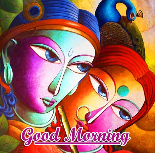 Good Morning with Radha and Krishna Photo