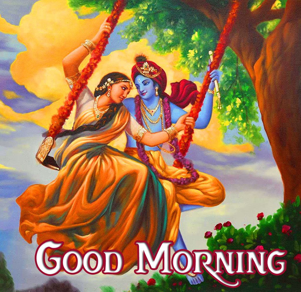 Good Morning with Radha and Krishna Pic