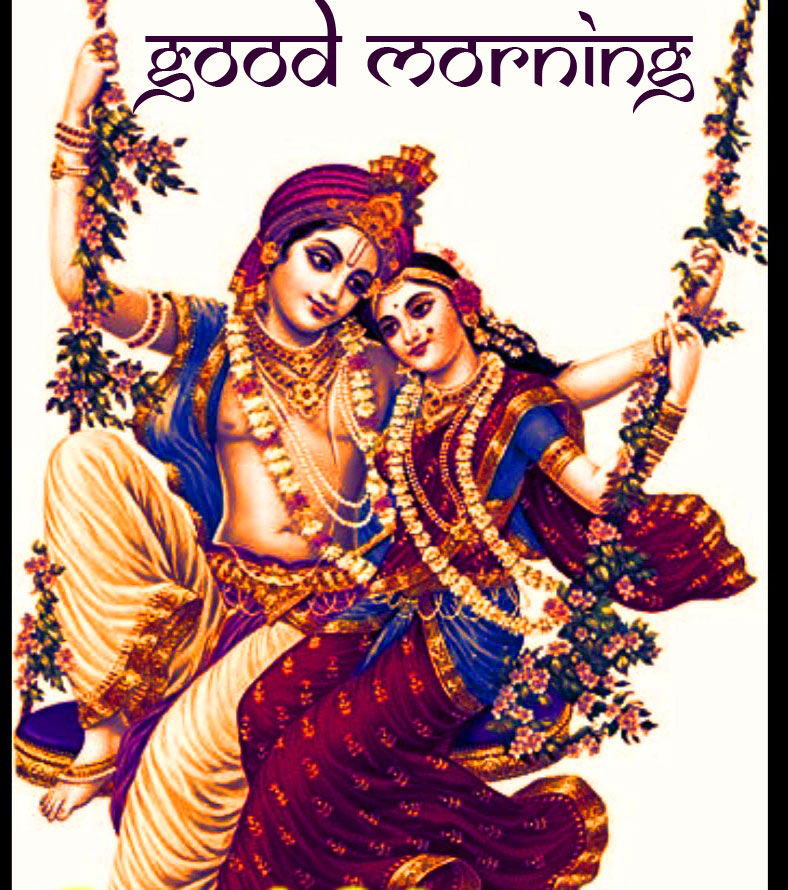 Good Morning with Radha and Krishna Picture