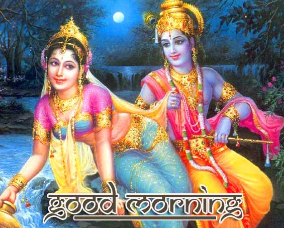 Good Morning with Romantic Radha Krishna Image Full HD