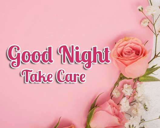 Good Night Greeting with Pink Floral Background