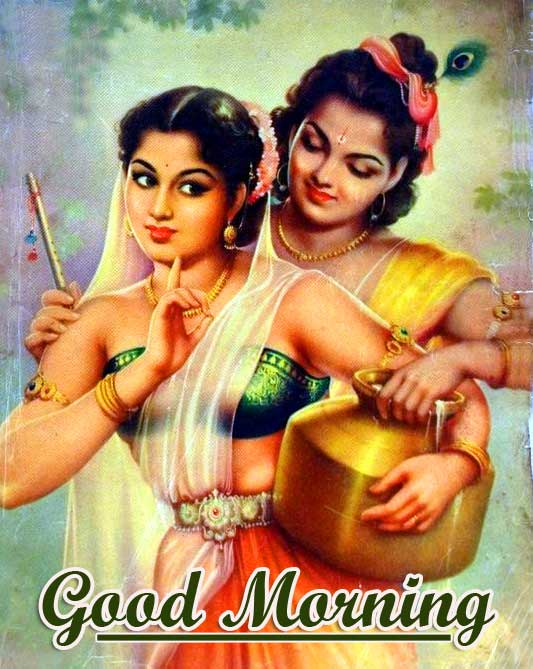 HD Radha and Krishna Good Morning Wallpaper