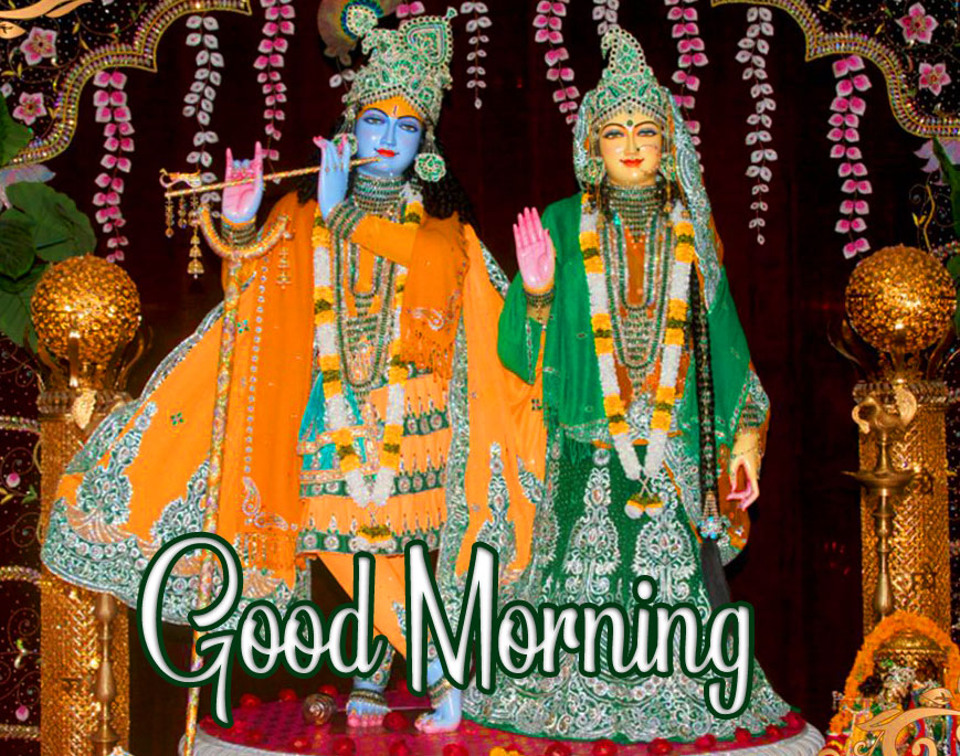HD Radha and Krishna Statue with Good Morning Wish