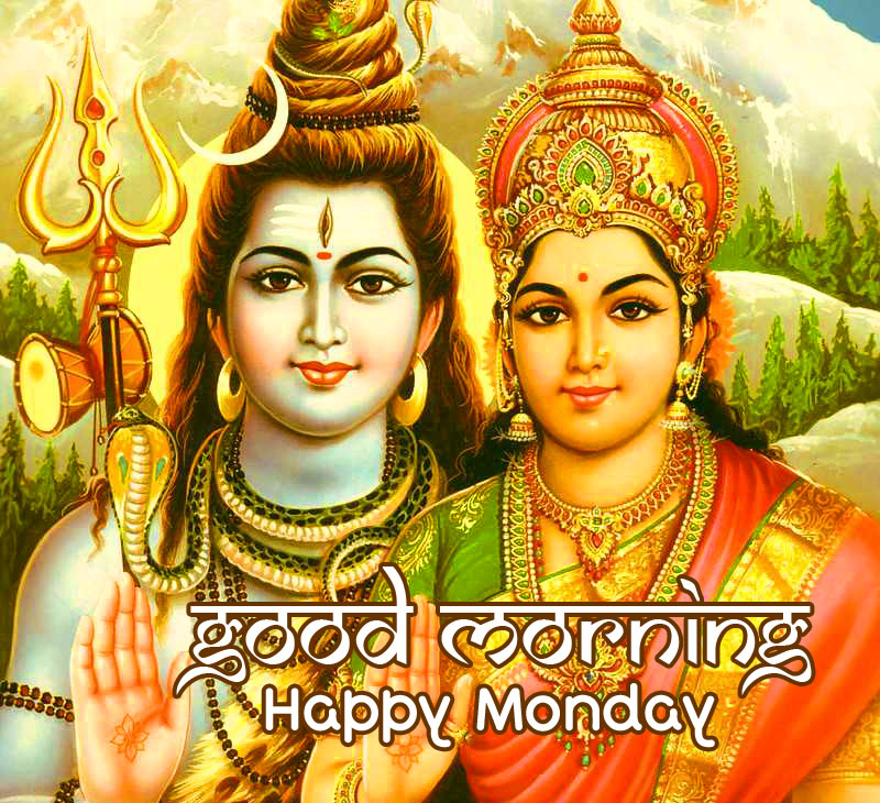 HD Shiva Pic with Good Morning Happy Monday Wish