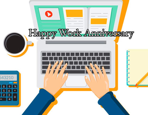 Hands on Laptop with Happy Work Anniversary Wish
