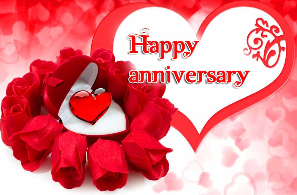 Happpy Anniversary on Heart and Ring Image