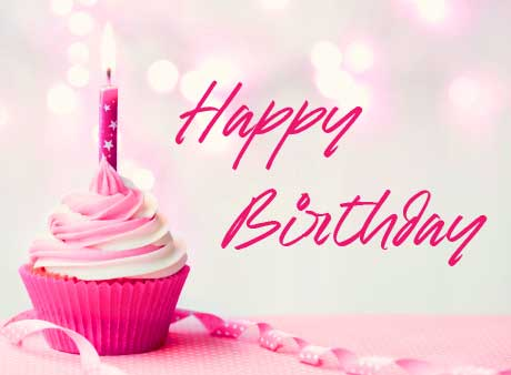 Happy Birthday Pink Cup Cake Image