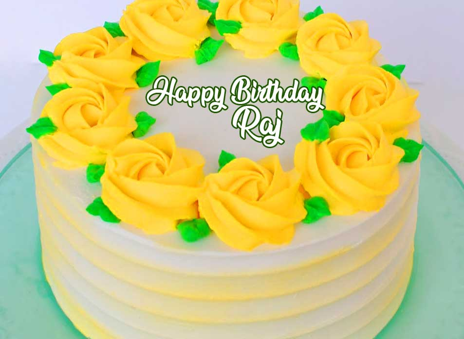 Happy Birthday on Yellow Floral Cake