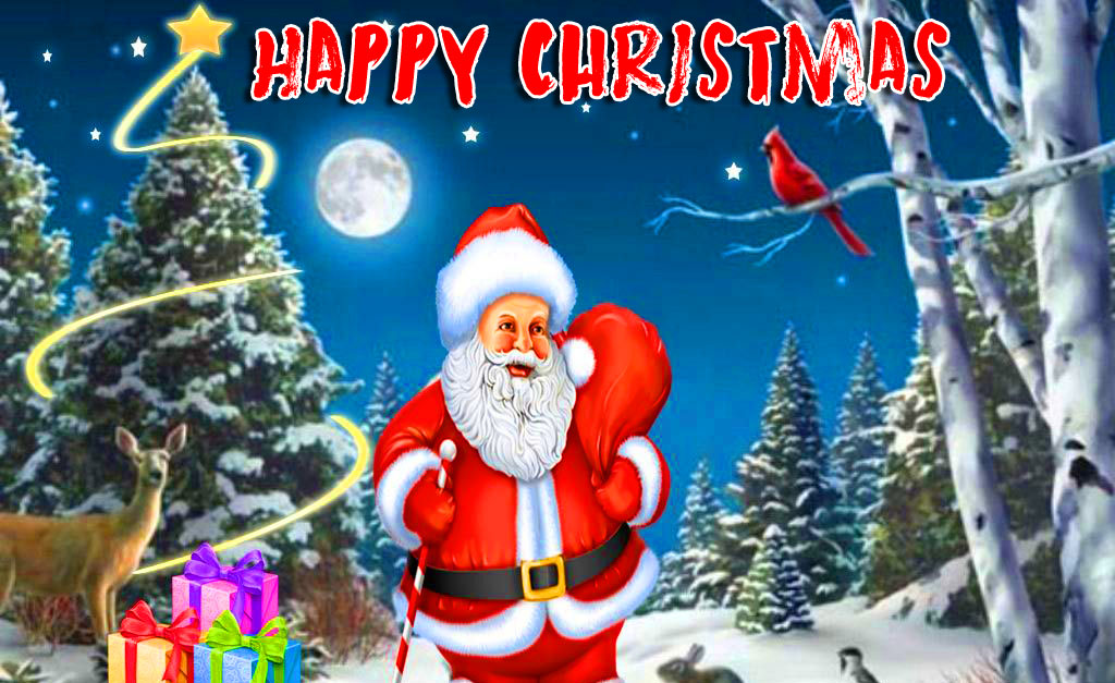 Happy Christmas Beautiful Santa Claus Wallpaper