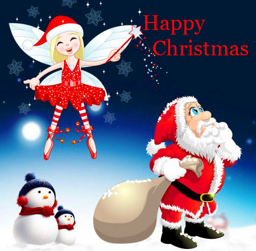 Happy Christmas with Santa Clause Wallpaper