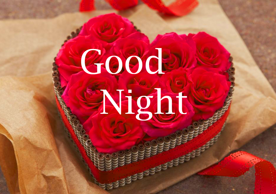 Heart Box full of Red Roses and Good Night Wishing