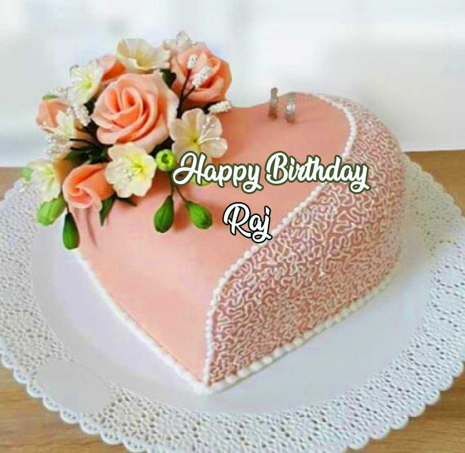 Heart Cake with Flowers and Happy Birthday Message