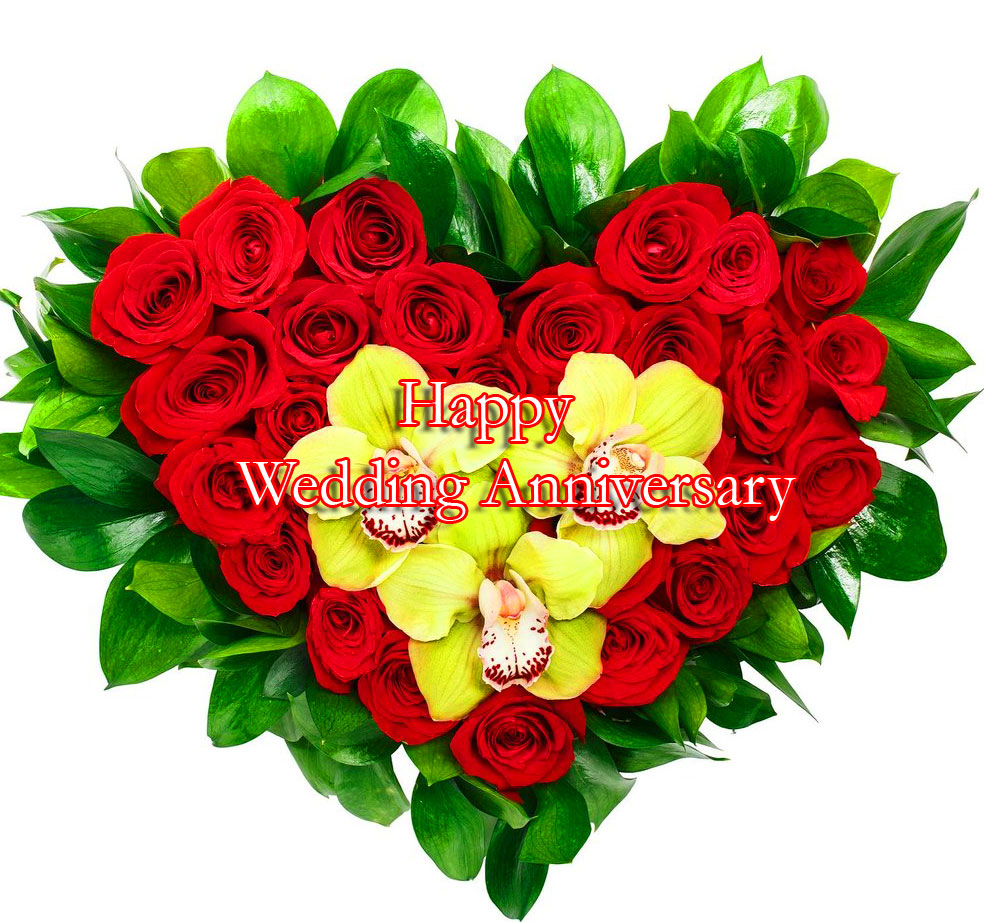 Heart Shape Bouquet of Flowers with Happy Wedding Anniversary Wishing