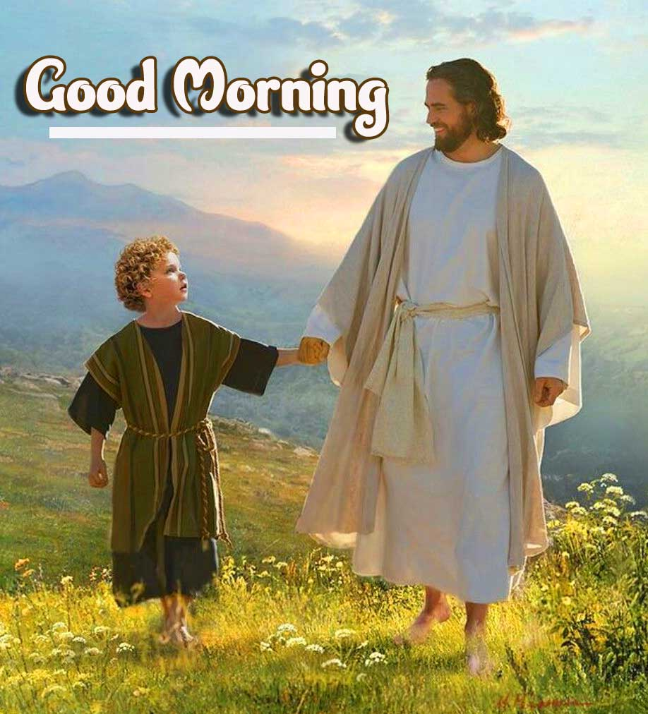 Jesus with a Child and Good Morning Image