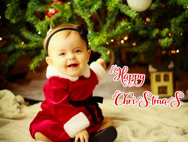 Little Baby with Happy Christmas Message