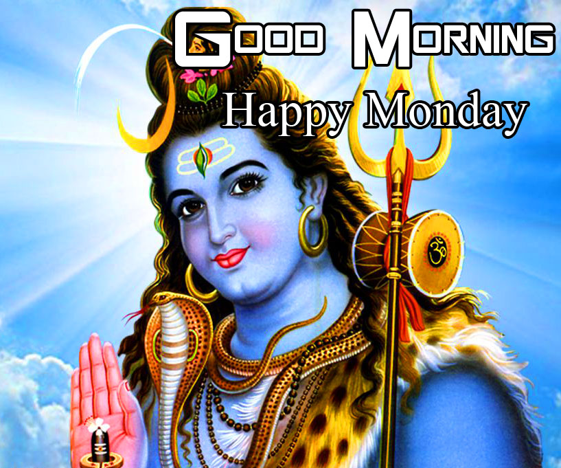 Lord Shiva Photo with Good Morning Happy Monday Wishing