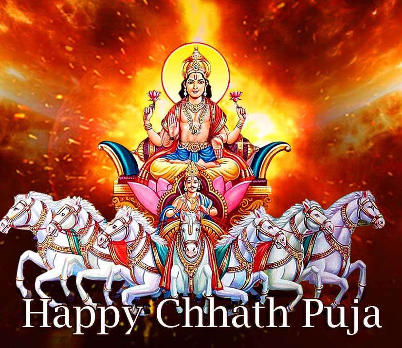 Lord Surya with Happy Chhath Puja Image HD