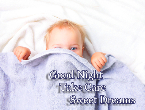 Lovely Baby with Good Night Wishing