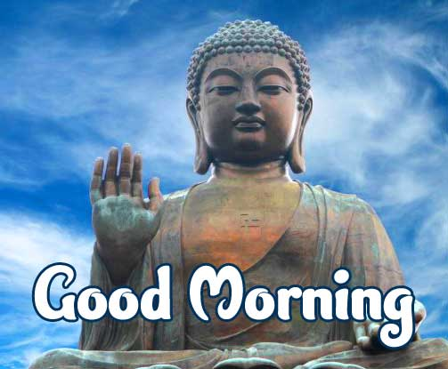 Lovely Buddha Good Morning on statue Photo