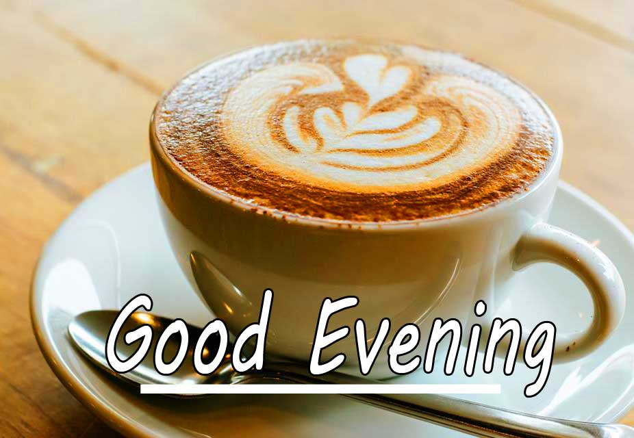 Lovely Design on Coffee with Good Evening Wishing