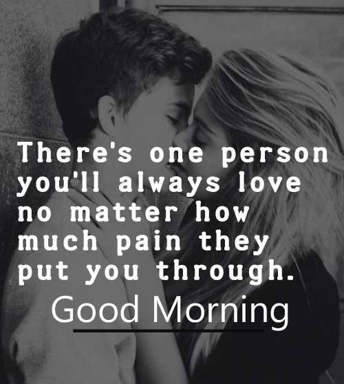 Lovely Kissing Couple with Good Morning Wishing Image HD