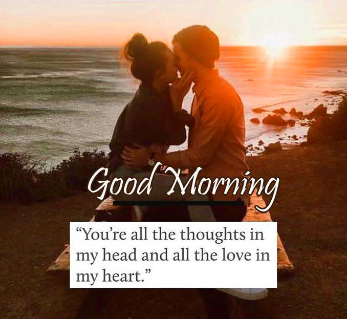 Lovely Kissing Couple with Good Morning Wishing